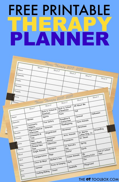 Use this occupational therapy activities planner as a back-to-school therapy guide to plan activities and themes in occupational therapy sessions, perfect for school-based OT.