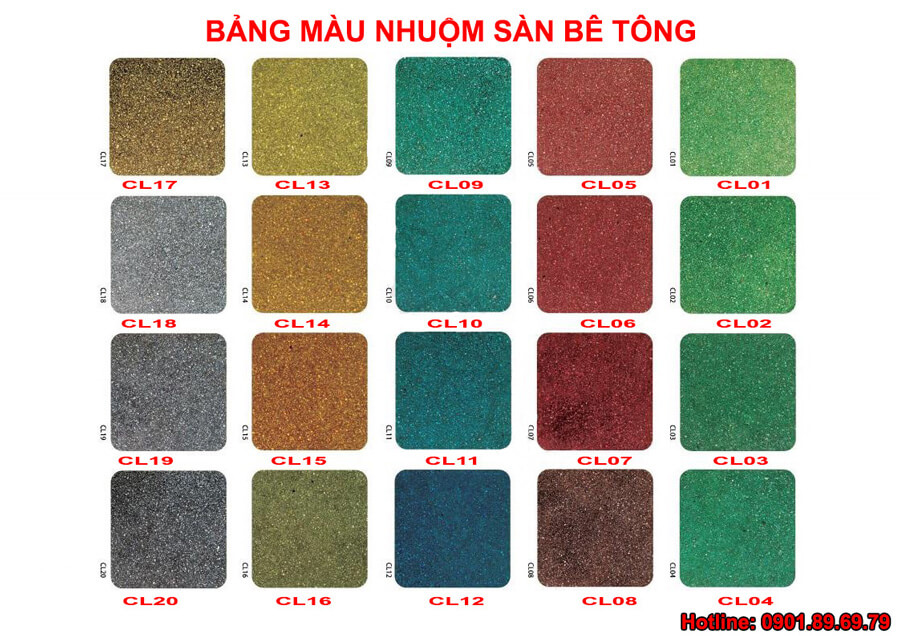 bảng màu hóa chất nhuộm màu nền xi măng DG C002