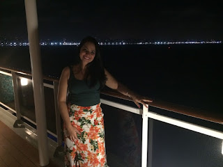 Vista do cruzeiro Msc Magnifica saindo de Fortaleza