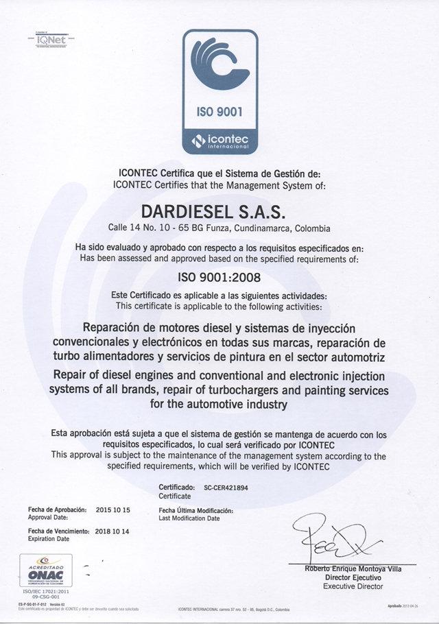 DarDiesel Certificados Incontec y IQnet