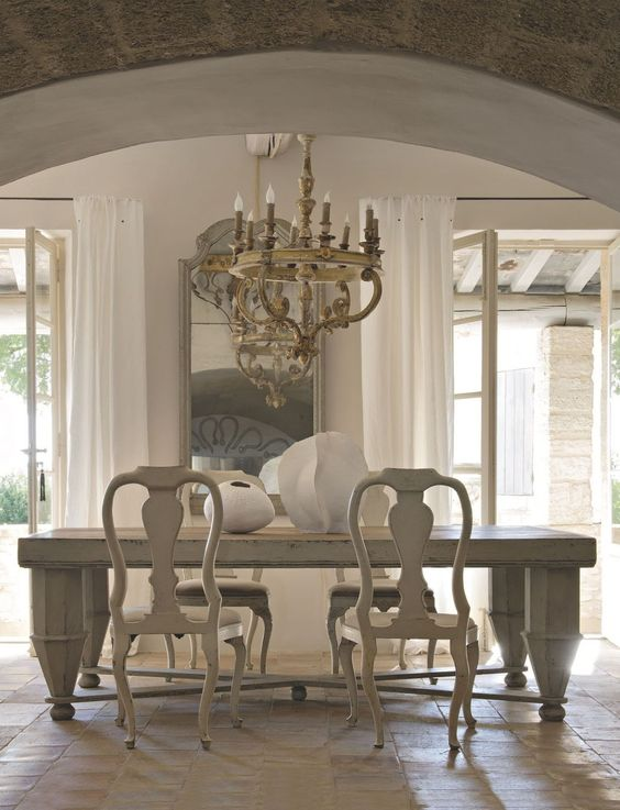 Gustavian Home Decor ideas: #Frenchfarmhouse dining room in exquisite French home on Hello Lovely Studio