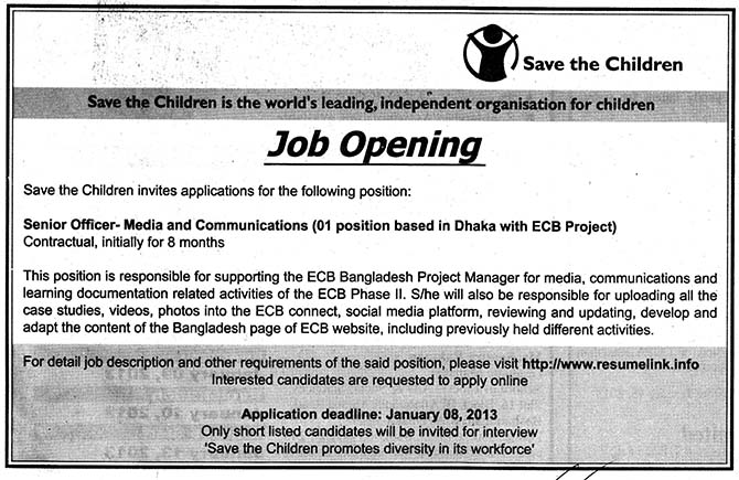 jobs barta save the children bangladesh jobs circular post senior officer. Black Bedroom Furniture Sets. Home Design Ideas