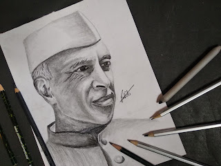Potrait sketch drawing of Jawaherlal Nehru