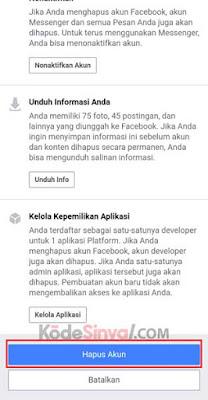 Menghapus Akun Facebook Secara Permanen di HP / PC