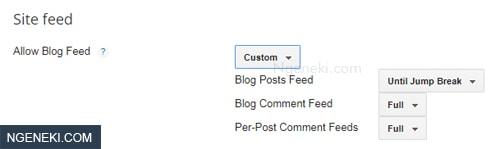 Setting feed blogger