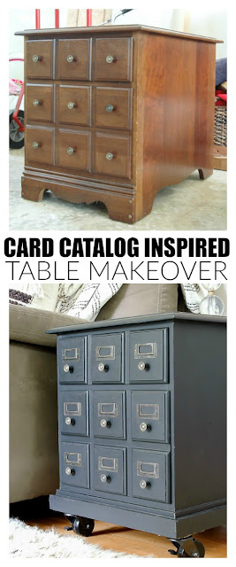 Goodwill card catalog inspired makeover before and after