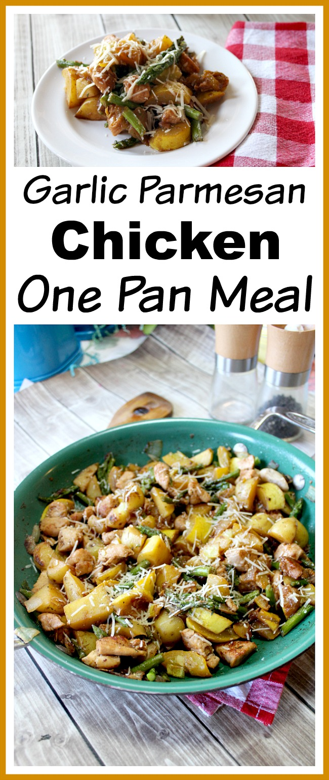 Garlic Parmesan Chicken One Pan Meal- It only takes 30 minutes and one pan to make this garlic Parmesan chicken one pan meal!   recipe, easy recipe, quick recipes for busy moms, dinner, food, chicken dishes, vegetables, veggies, one skillet meal, one pot recipe