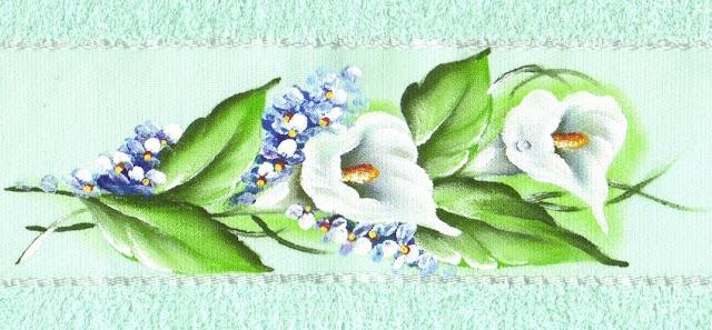 pintura em tecido toalha de banho flores copo de leite