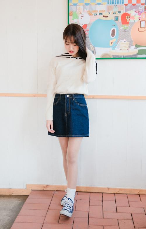 A-Line Denim Mini Skirt