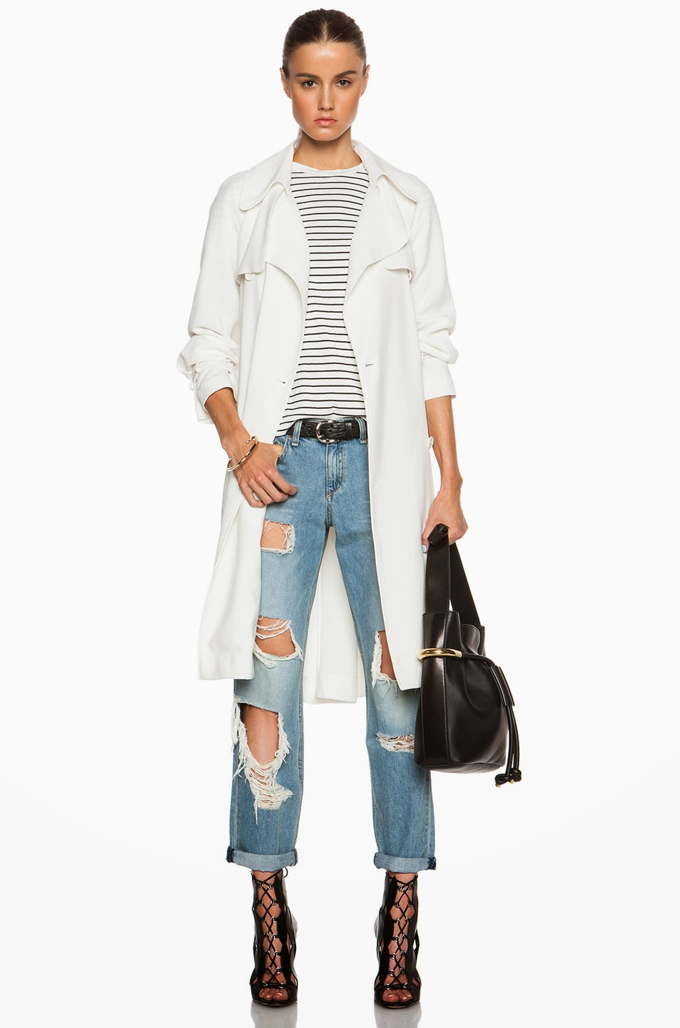 481300c55684 classic with an edge - bright white lightweight trench coat - striped tee - ripped  jeans