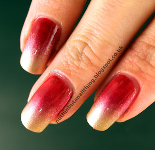 red gold gradient nails