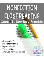 Nonfiction Close Reading Constitution Day Free Product