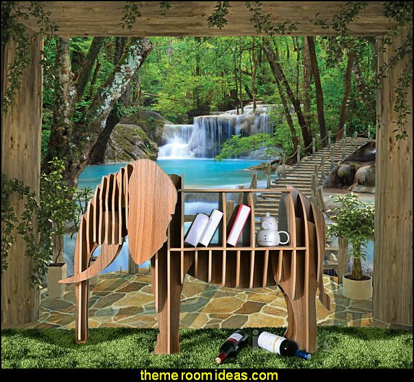 elephant furniture  Wooden Elephant Model Art Table Furniture Waterfall Wall Mural
