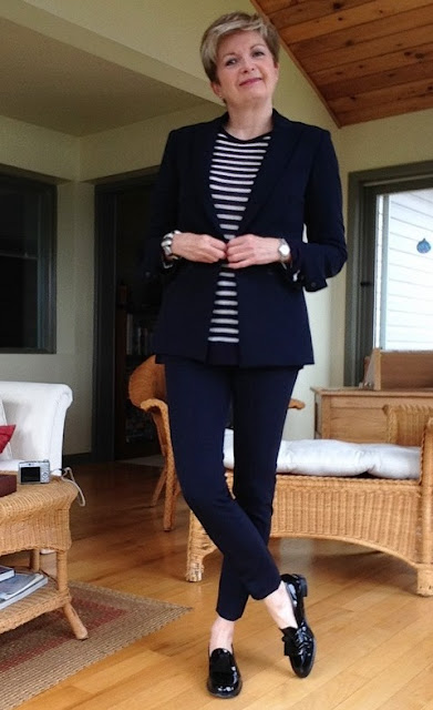 Veronica Beard jacket and cropped pants, Alexander Wang tee, Stuart Weitzman loafers