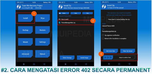 Cara Mengatasi Error : download | auth rejected 402 Secara permanent ( TWRP ) ( Hanya untuk MIUI 9 )