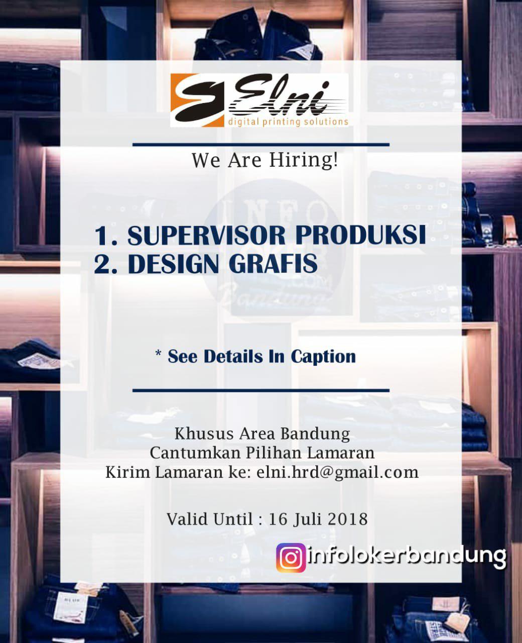 Lowongan Kerja PT. ELNI ( Digital Printing Solution ) Bandung Juli 2018