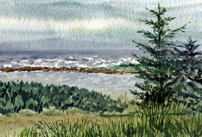 seascape in watercolor