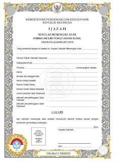 Blangko Ijazah SMA 2018 Kurikulum 2013, Jurusan IPS