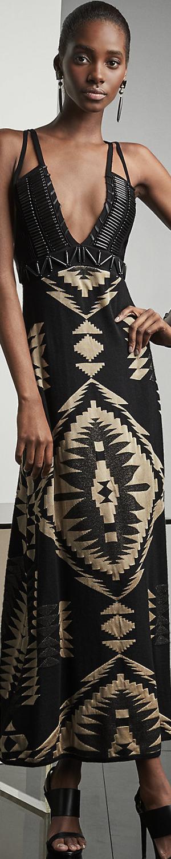 Ralph Lauren Beaded Sweater Gown in Black/Bone