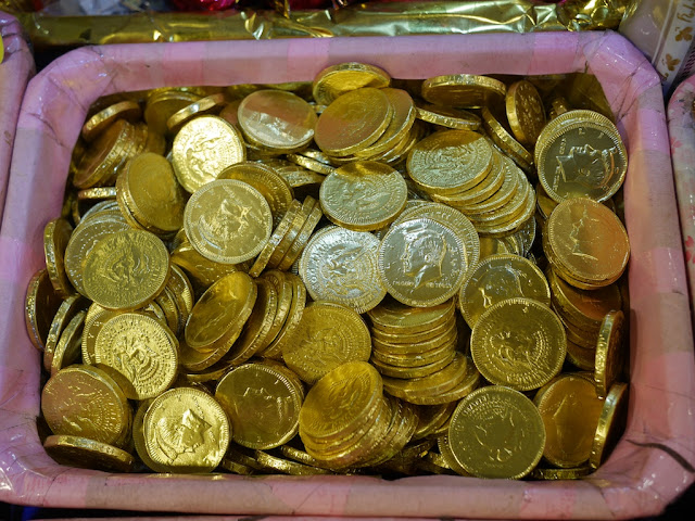 chocolate coins for sale at the Taipei Lunar New Year Festival on Dihua Street