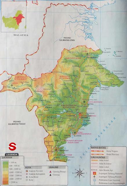 Gambar Peta Atlas Provinsi Kalimantan Timur