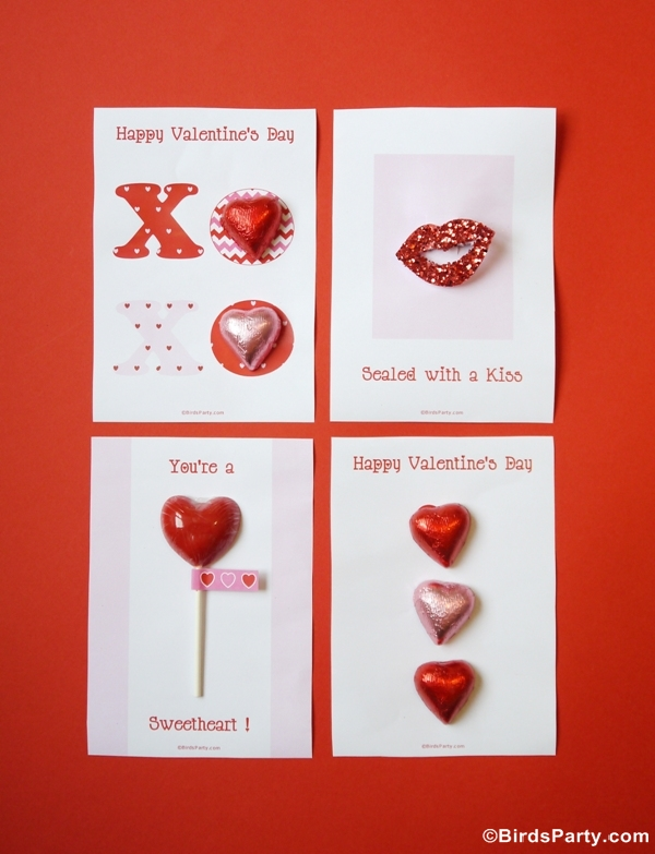 Four Valentine's Day DIY Cards with Free Printables - BirdsParty.com