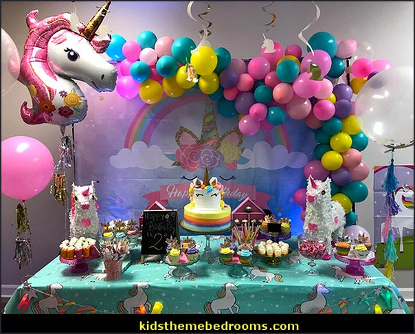 Unicorn Backdrop for Birthday Party Magic Sky Rainbow Gold Horn Children Newborn Baby Shower Photography Background Photo Booth