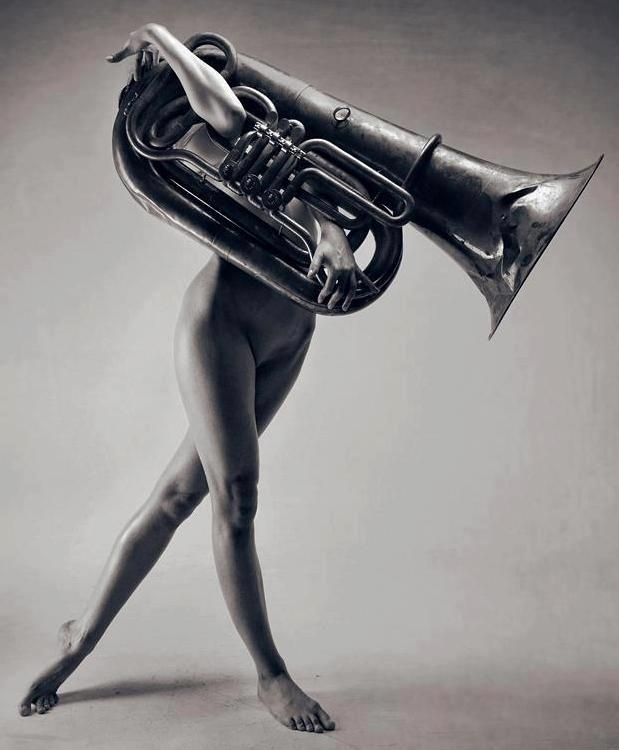 Nude Woman With Tuba