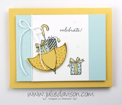 Stampin' Up! Weather Together ~ Umbrella Weather: Baby or Wedding Shower Card ~ www.juliedavison.com