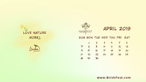 April 2019 Calendar with Flower petal desktop wallpaper esign saying, love nature more