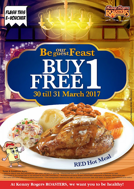 Kenny Rogers ROASTERS Malaysia Buy 1 Free 1 E-Voucher Red Hot Meal