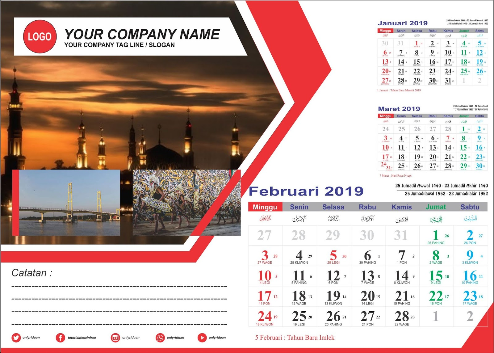 Desain Kalender Duduk 2019 dengan CorelDRAW (Free CDR ...