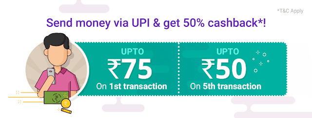 Phone Pe Transaction and earn 125 rs Offer on 1st and 5th transaction