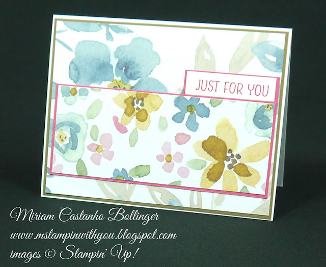 Miriam Castanho Bollinger, #mstampinwithyou, stampin up, demonstrator, ppa, all occasions card, english garden dsp, floral wings, su