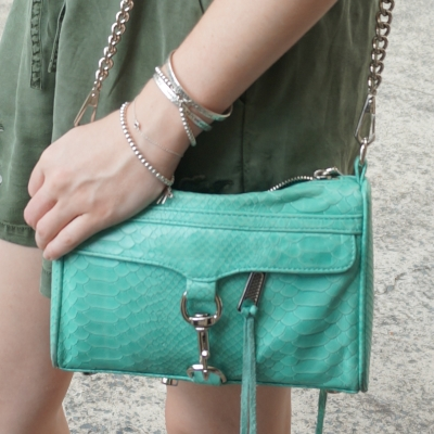 olive shorts, Rebecca Minkoff mini MAC in aquamarine with python embossed leather | away from the blue