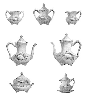 tea teapot illustration digital download collage sheet