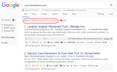 google search result