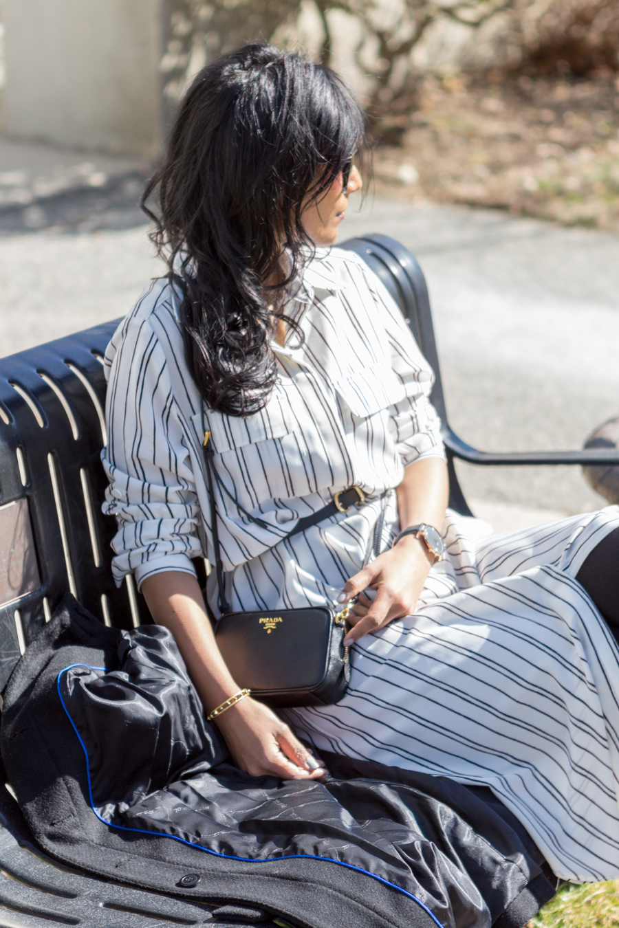 target style, shirtdress, pinstripe, silky dress, midi, booties, via spiga, cluse watch, prada camera bag, black trench, belted dress