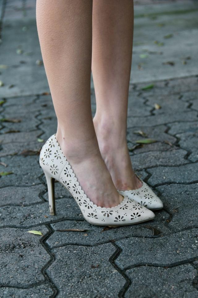LC lauren conrad floral vegan leather heels nude ivory eyelet