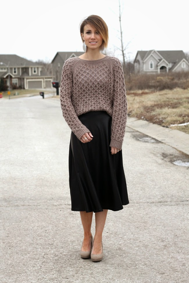 Vegan leather skirt, mocha sweater