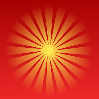 Red and yellow stylised sun logo