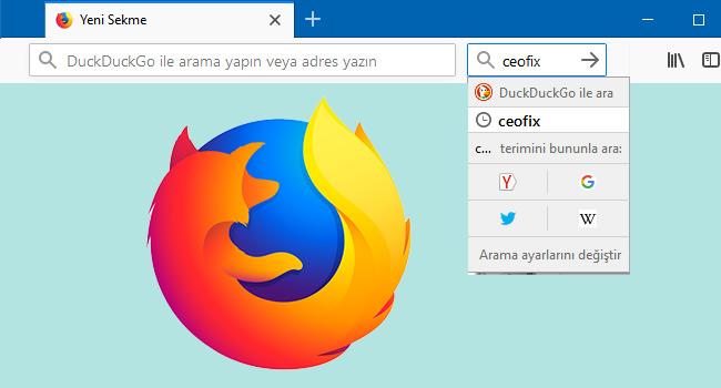 Firefox'da Adres Satırı Yanına Arama Kutusu Ekle