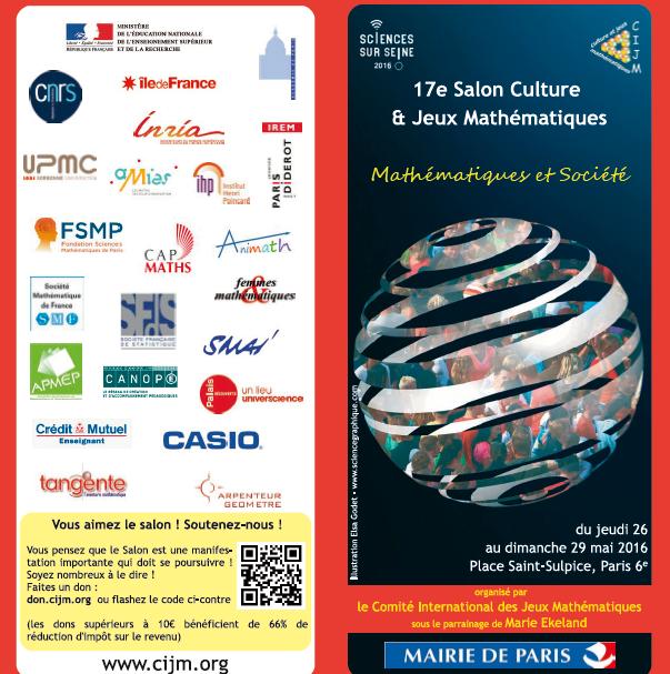 Salon Maths et société du 26 au 29 mai 2016 Paris