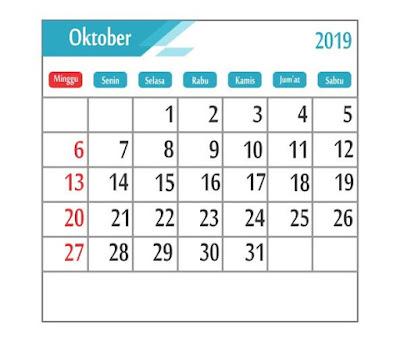 Kalender Oktober 2019 - tanggal merah