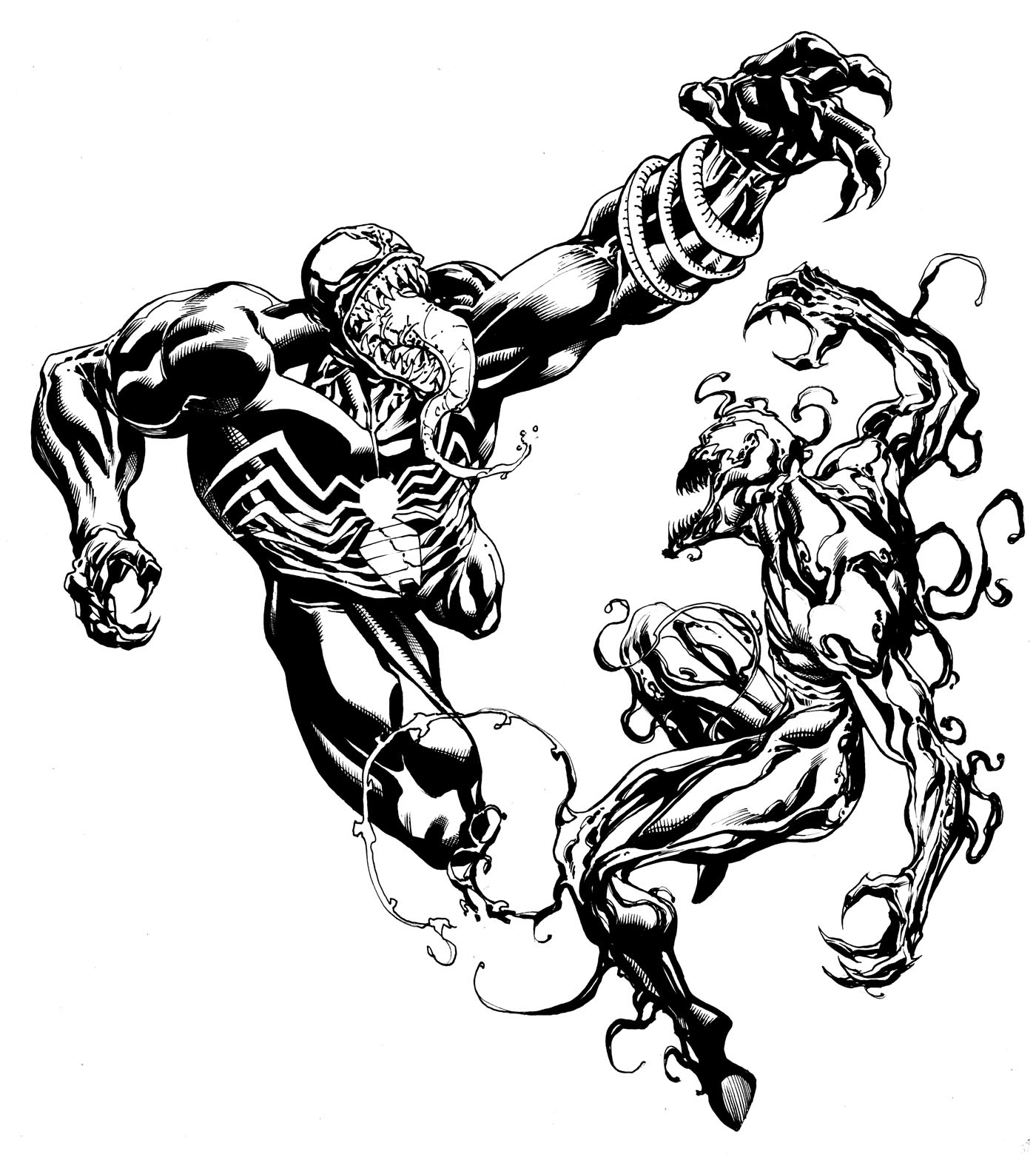 standing spiderman coloring pages | Robert Atkins Art: Symbiote Partay pt 2.