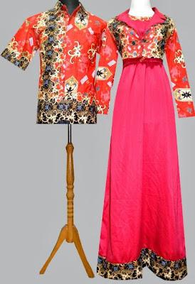 Model Gamis Batik Kombinasi Satin modern