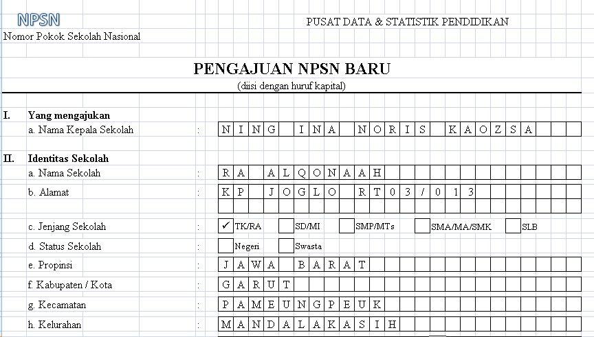 Download Formulir Isian untuk Pengajuan NPSN Baru Tahun 2016 Format Microsoft Excel