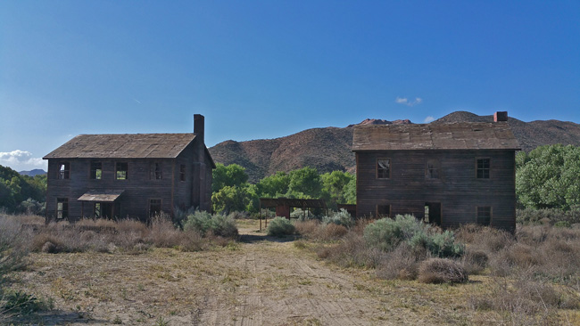 Abandoned buildings in Polsa Rosa Movie Ranch Ghost Town in Acton California
