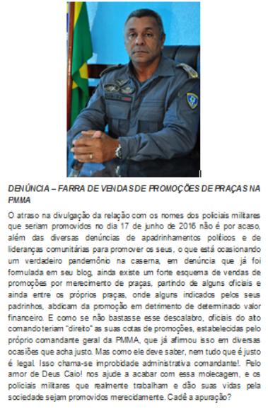 Com a palavra o comandante geral da PMMA? Policiais Militares denunciam armações nas promoções