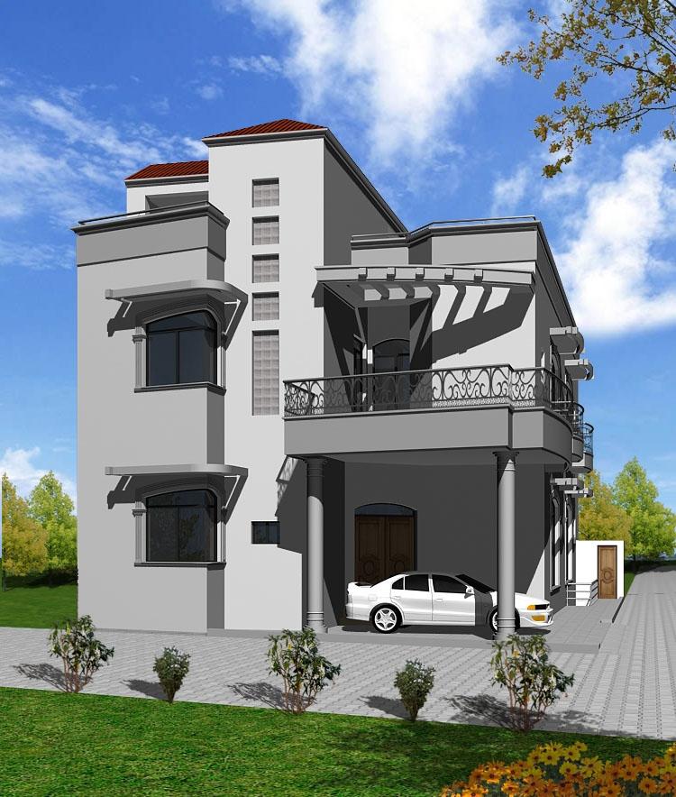 3d Building Elevation 3d Front Elevation: 3D Front Elevation.com: 1 Kanal, 10 Marla House PLan, Maps